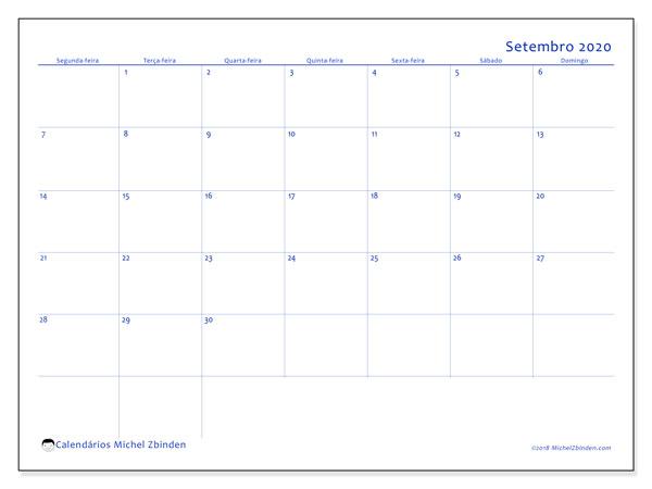 Calendário setembro 2020, 55SD. Agenda para imprimir livre.