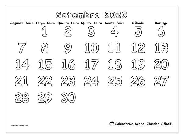 Calendário setembro 2020, 56SD. Horário para imprimir livre.