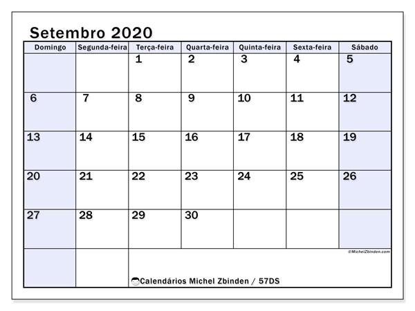 Calendário setembro 2020, 57DS. Horário para imprimir livre.