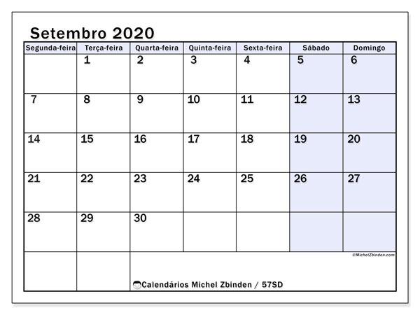 Calendário setembro 2020, 57SD. Calendário para imprimir gratuitamente.