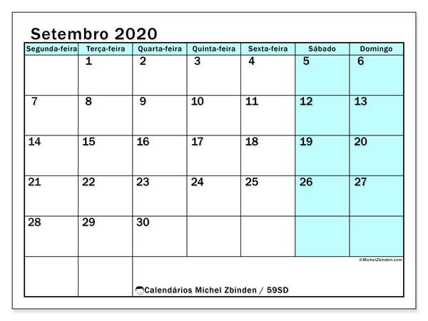 Calendário setembro 2020, 59SD. Calendário mensal para imprimir gratuitamente.