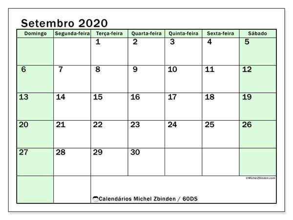 Calendário setembro 2020, 60DS. Horário para imprimir livre.