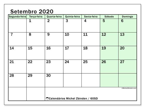 Calendário setembro 2020, 60SD. Calendário para imprimir gratuitamente.