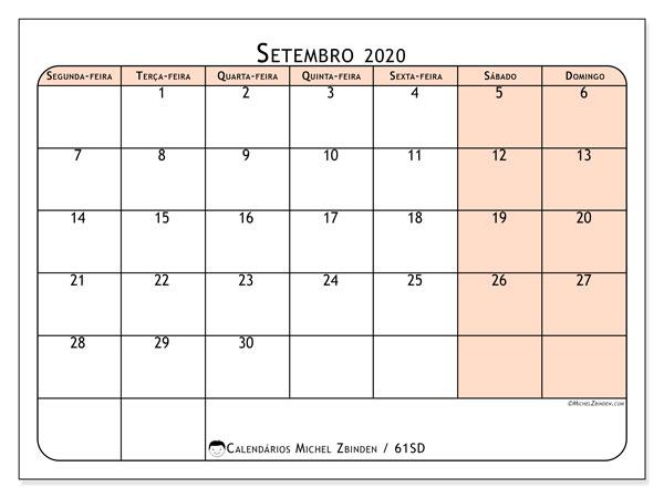 Calendário setembro 2020, 61SD. Calendário gratuito para imprimir.