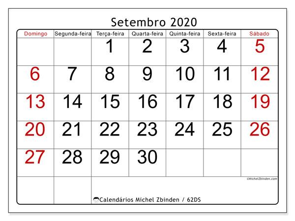 Calendário setembro 2020, 62DS. Calendário gratuito para imprimir.