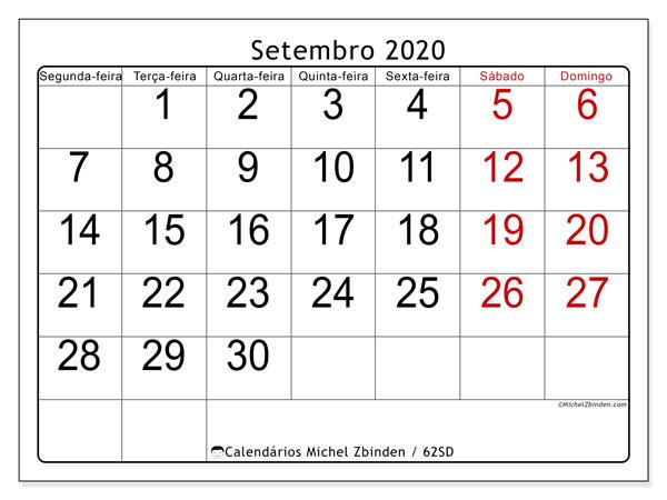 Calendário setembro 2020, 62SD. Calendário mensal para imprimir gratuitamente.