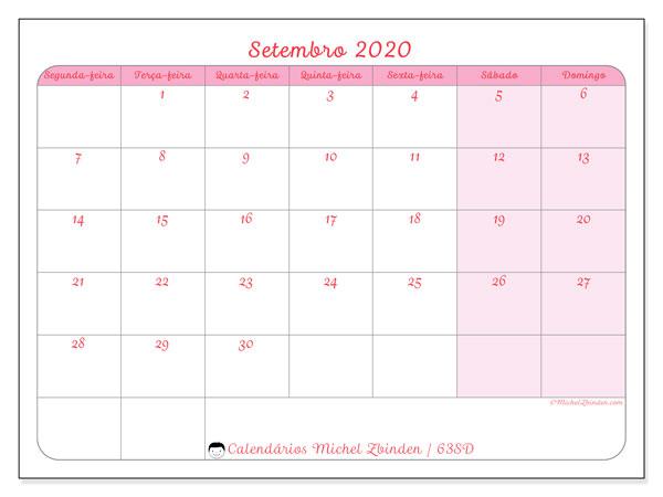 Calendário setembro 2020, 63SD. Calendário para imprimir livre.