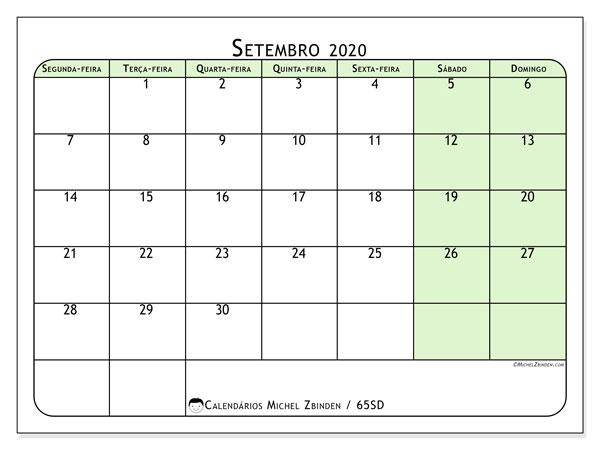 Calendário setembro 2020, 65SD. Calendário para imprimir livre.