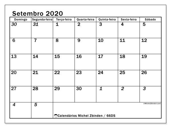Calendário setembro 2020, 66DS. Calendário para imprimir livre.