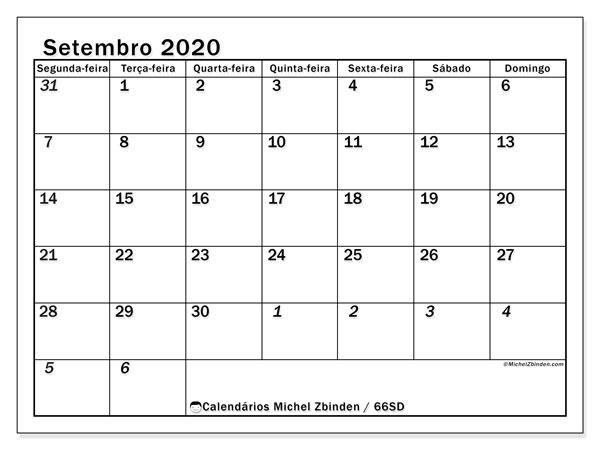 Calendário setembro 2020, 66SD. Calendário para o mês para imprimir livre.
