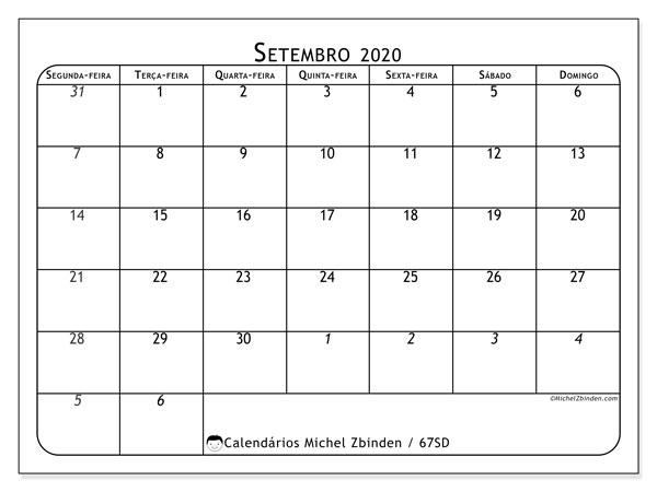 Calendário setembro 2020, 67SD. Agenda para imprimir livre.