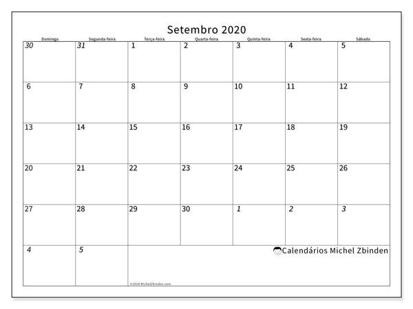 Calendário setembro 2020, 70DS. Calendário para imprimir livre.