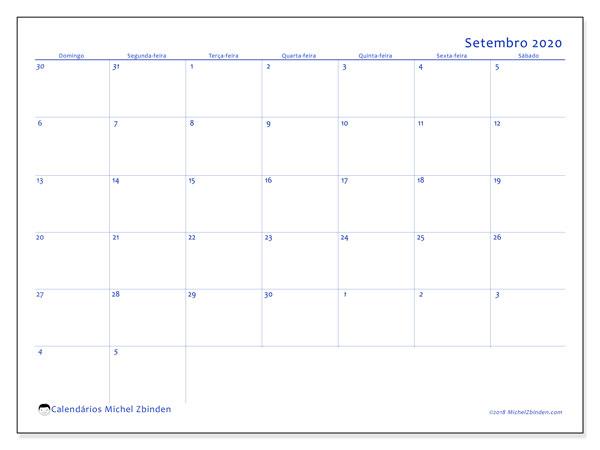 Calendário setembro 2020, 73DS. Calendário gratuito para imprimir.