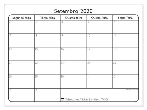 Calendário setembro 2020, 74SD. Agenda para imprimir livre.