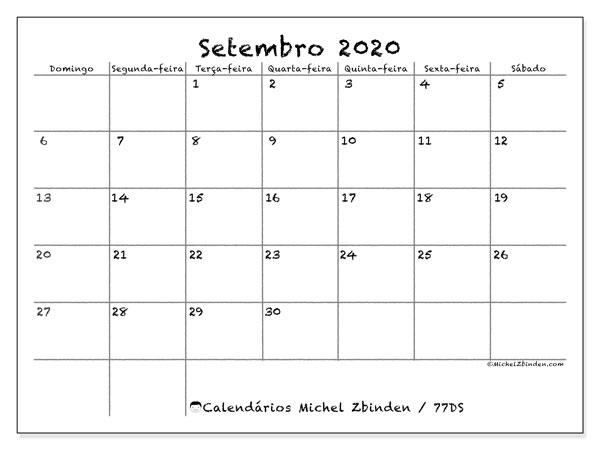 Calendário setembro 2020, 77DS. Calendário mensal para imprimir gratuitamente.