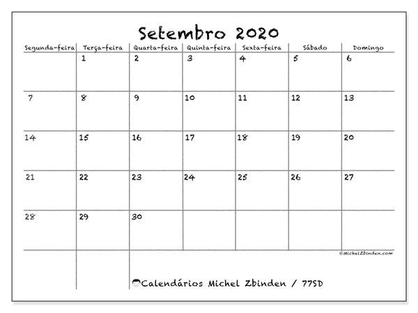 Calendário setembro 2020, 77SD. Calendário para imprimir gratuitamente.