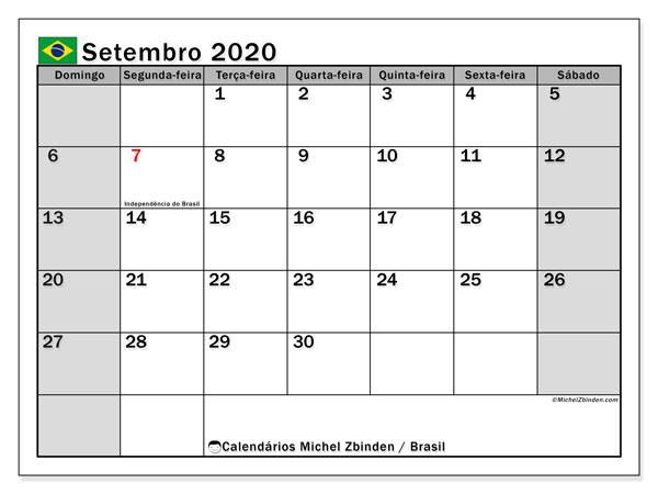 Calendário em setembro  de 2020, com feriados públicos do Brasil. Calendário para o mês para imprimir livre.