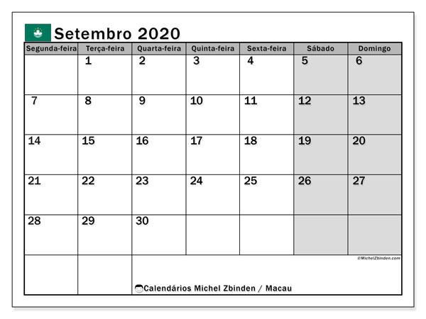 Calendário setembro 2020, com as festas do Macau. Calendário feriados para imprimir gratuitamente.