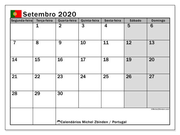 Calendário em setembro  de 2020, com feriados públicos em Portugal. Calendário gratuito para imprimir.