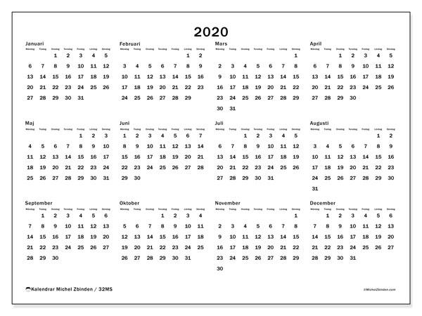 Kalender 2020, 32MS. Årlig kalender för att skriva ut gratis.