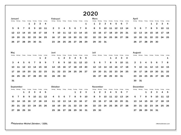 Kalender 2020, 32SL. Kalender för året att skriva ut gratis.