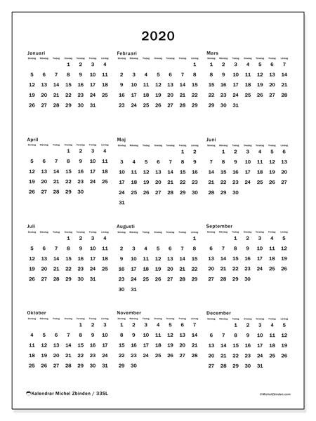 Kalender 2020, 33SL. Kalender för året att skriva ut gratis.