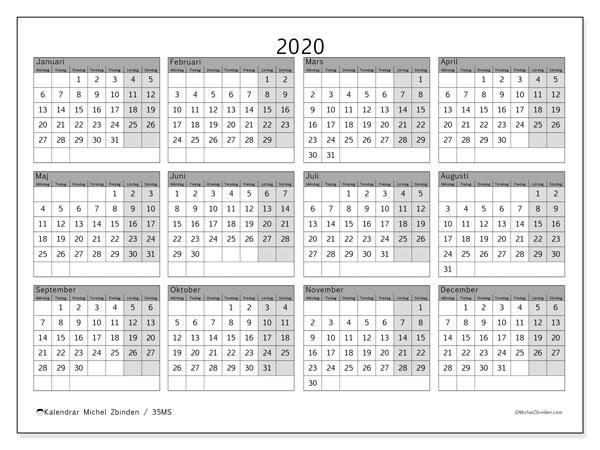 Kalender 2020, 35MS. Årlig kalender för att skriva ut gratis.