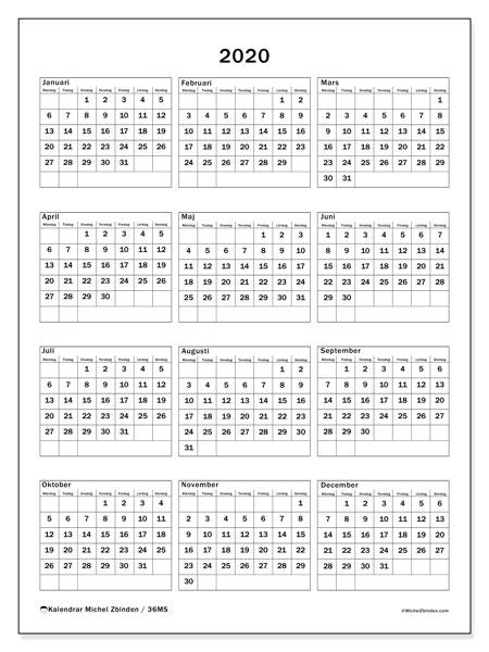 Kalender 2020, 36MS. Årlig kalender för att skriva ut gratis.