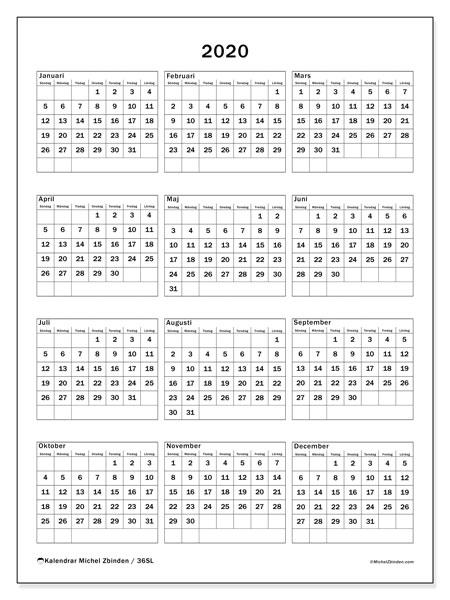 Kalender 2020, 36SL. Gratis kalender att skriva ut.