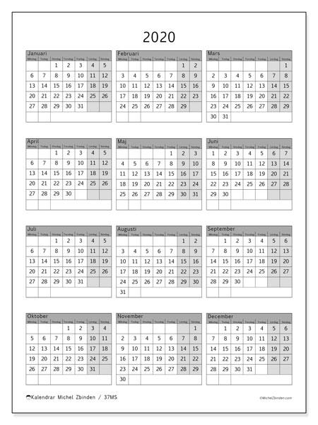 Kalender 2020, 37MS. Årlig kalender för att skriva ut gratis.