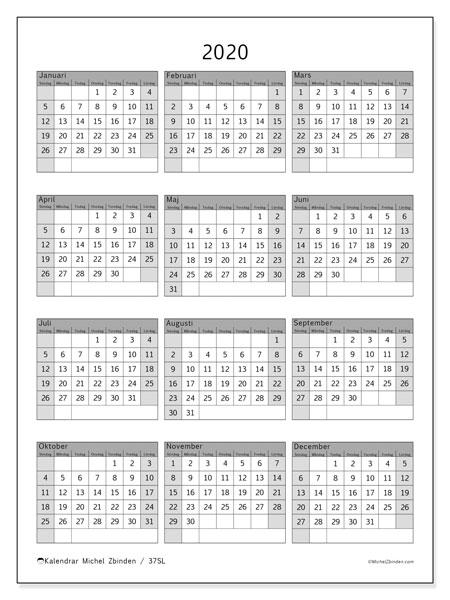 Kalender 2020, 37SL. Kalender för gratis utskrift.