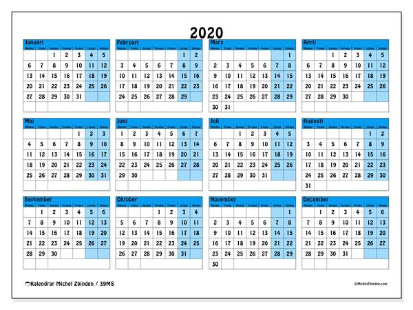 Kalender 2020, 39MS. Årlig kalender för att skriva ut gratis.