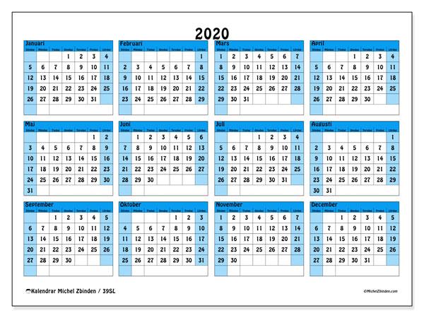 Kalender 2020, 39SL. Kalender för året att skriva ut gratis.