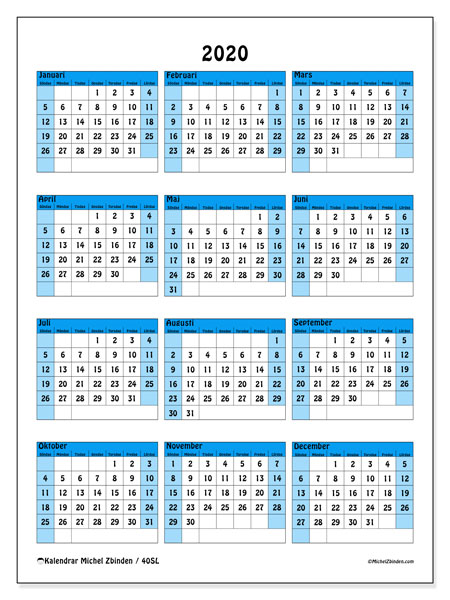 Kalender 2020, 40SL. Gratis utskrivbara kalender.