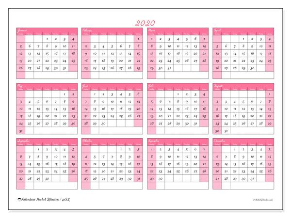 Kalender 2020, 41SL. Årlig kalender för att skriva ut gratis.