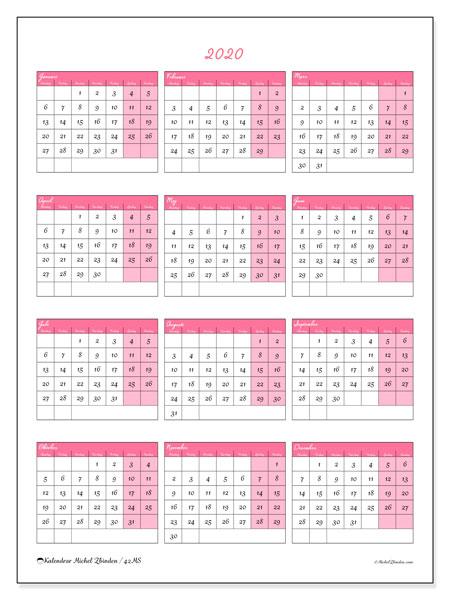 Kalender 2020, 42MS. Kalender för gratis utskrift.