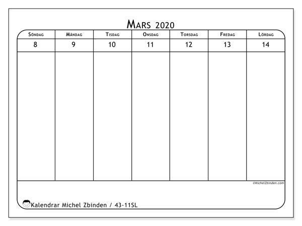 Kalender 2020, 43-11SL. Veckokalender för att skriva ut gratis.