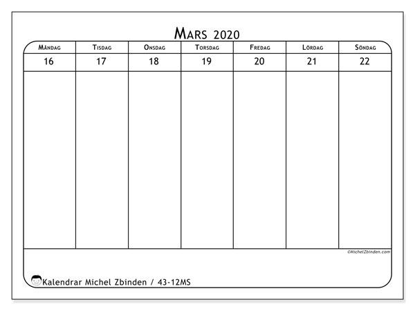 Kalender 2020, 43-12MS. Gratis kalender att skriva ut.