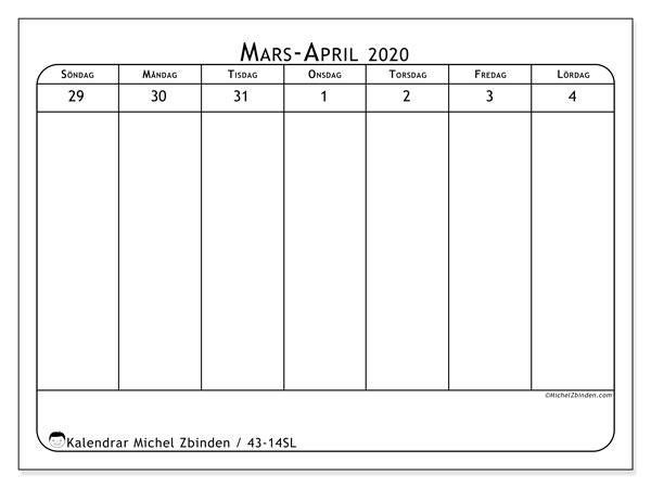 Kalender 2020, 43-14SL. Schema för att skriva ut gratis.