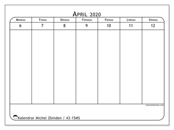 Kalender 2020, 43-15MS. Kalender för veckan att skriva ut gratis.