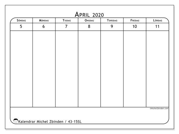 Kalender 2020, 43-15SL. Gratis utskrivbara kalender.