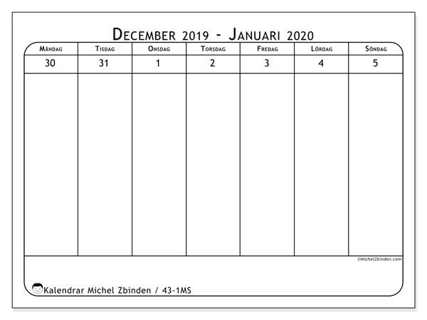 Kalender 2020, 43-1MS. Gratis kalender att skriva ut.