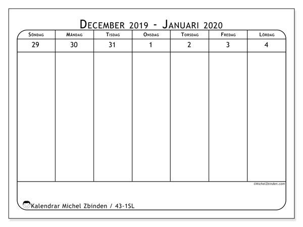 Kalender 2020, 43-1SL. Gratis kalender att skriva ut.