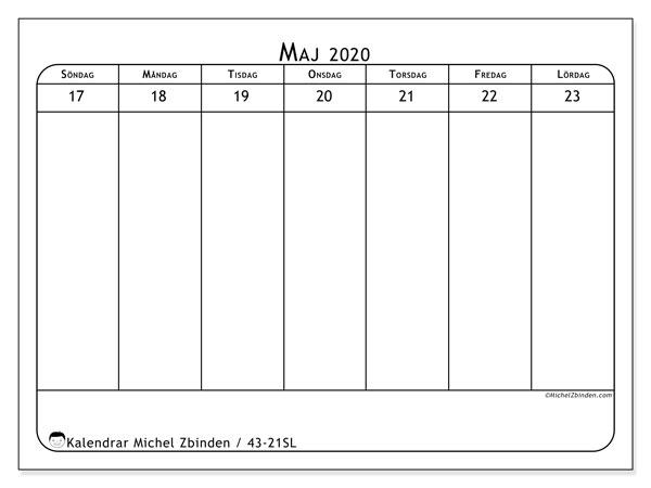 Kalender 2020, 43-21SL. Veckokalender för att skriva ut gratis.