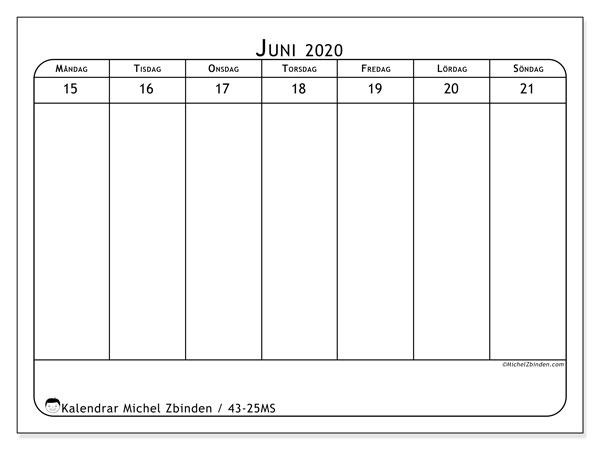 Kalender 2020, 43-25MS. Schema för att skriva ut gratis.