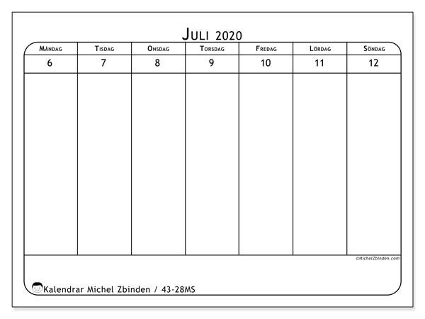 Kalender 2020, 43-28MS. Gratis kalender att skriva ut.