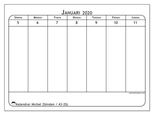 Kalender 2020, 43-2SL. Veckokalender för att skriva ut gratis.