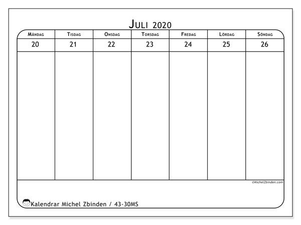 Kalender 2020, 43-30MS. Veckokalender för att skriva ut gratis.