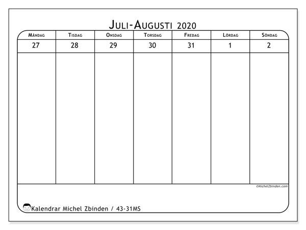 Kalender 2020, 43-31MS. Kalender för veckan att skriva ut gratis.