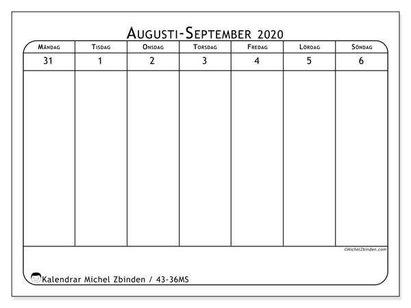 Kalender 2020, 43-36MS. Gratis utskrivbara kalender.